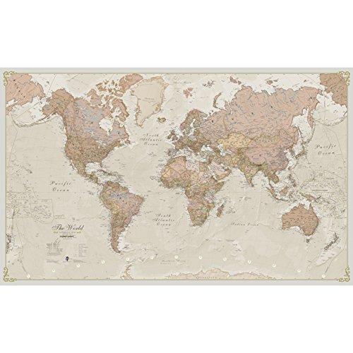 Enorme mappamondo Laminato/incapsulato, Stile Antico, 197 cm (Larghezza) x 116,5 cm (Altezza)