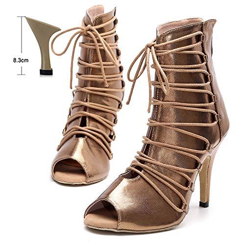 HOAPL Dames Latin Dance Schoenen Sliver Goud Glitter Doek Ballroom Tango Salsa Dansschoenen voor Meisjes Rits Vetersluiting Latijnse Dans Laarzen