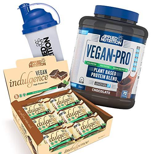 Applied Nutrition Bundle Vegan Pro Plant Based Protein Powder 2.1kg + Vegan Indulgence, High Protein Bar Snack, Box 12 x 50g + 700ml Shaker (Vegan Chocolate + Choc Mint Bars)