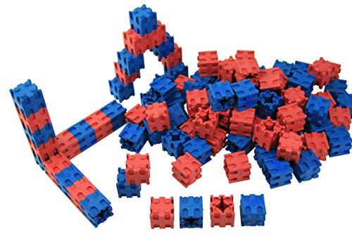 WISSNER® actief leren - 100 steekdobbelstenen 2 x 2 x 2 cm in rood en blauw - RE-Wood®