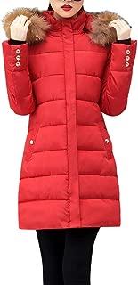 Funnygals - Womens Down Coat Camping & Hiking Jacket Thicker Winter Slim Zip Down Jackets Long Parka Puffer Jacket Coats