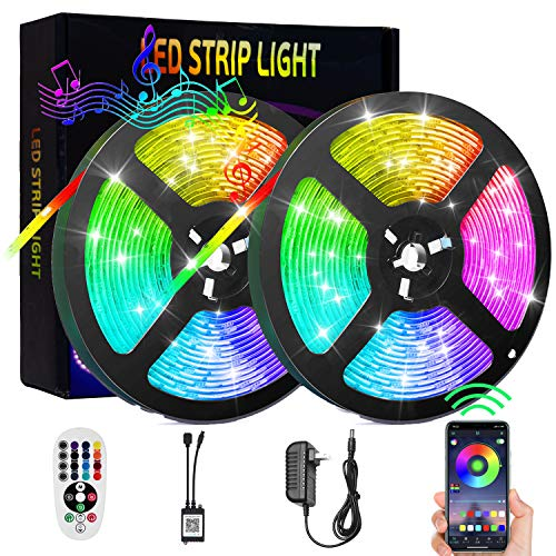 Led Lights for Bedroom 32.8 ft Bluetooth Music Sync and Remote, Vazillio IP67 Waterproof LED Strip Lights for TV 10M, Rope Lights 5050 RGB Color Changing, Flexible Strip Lights for Home Decoration