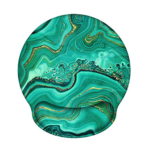Ergonomic Mouse Pad with Gel Wrist Rest Support, iLeadon Non-Slip Rubber Base Wrist Rest Pad for Home, Office Easy Typing & Pain Relief, Green Marble