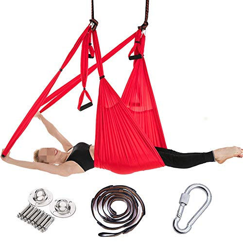 Review Dertyped-dc Aerial Yoga Swing Set Yoga Hammock Home Stretch Belt Aerial Hammock Reverse Gravi...