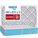 Aerostar Allergen & Pet Dander 16 3/8x21 1/2x1 MERV 11 Pleated Air Filter, Made in the USA, (Actual Size: 16 3/8'x21 1/2'x3/4'), 6-Pack