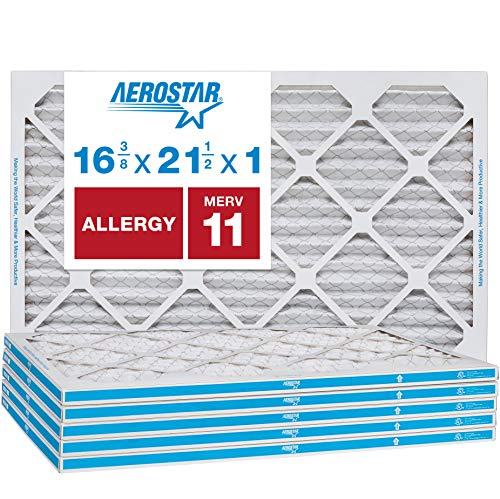 """Aerostar Allergen & Pet Dander 16 3/8x21 1/2x1 MERV 11 Pleated Air Filter, Made in the USA, (Actual Size: 16 3/8""""x21 1/2""""x3/4""""), 6-Pack"""