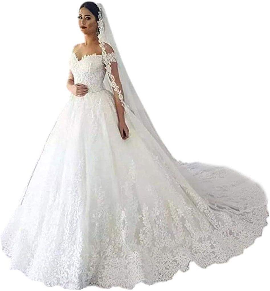 Andybridal Gorgeous Plus Size Off Shoulder Lace Court Train Bridal Gowns Wedding Dress for Bride 2020