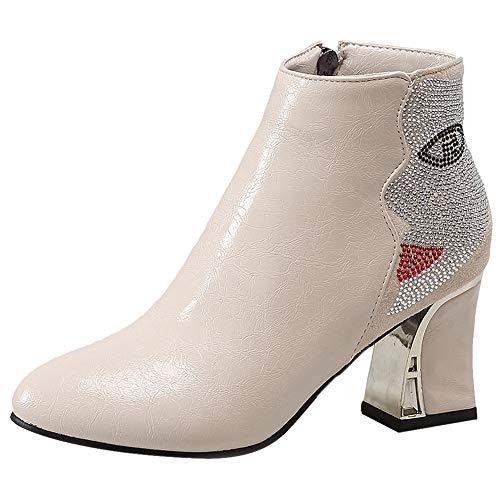 ELEEMEE Damen Mode Blockabsatz Knöchel Stiefel Geschlossen Motorradstiefel Reißverschluss Beige Gr 48 Asiatisch
