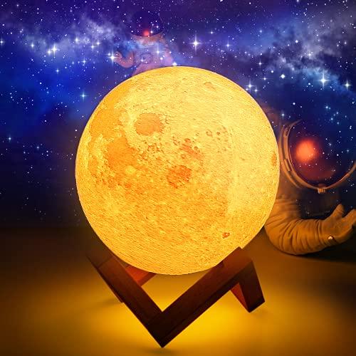 15CM Lampara Luna, 3D Luna Lampara 16 colores, LED Lámpara Luna con soporte de madera y red para colgar, Control remoto y táctil, Decoración nocturna y regalo perfecto para niños