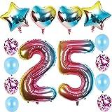 Globos de 25 cumpleaños para niña, juego de 25 globos con número 25 de helio, arcoíris para decoración de 25 cumpleaños para niñas, 8 unidades de confeti de látex, 4 unidades de corazones y estrellas