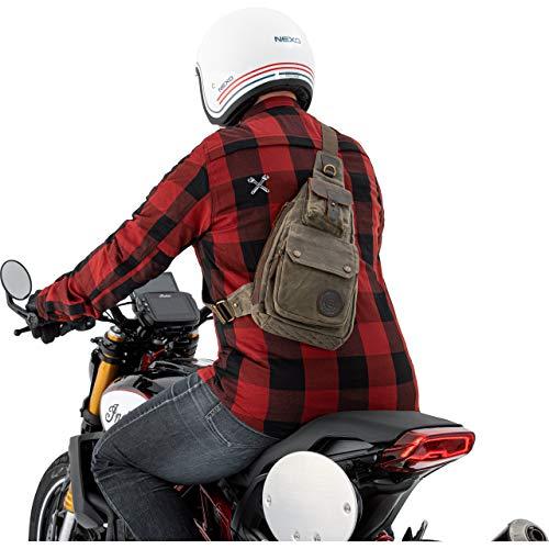 QBag Motorrad Rucksack Herren und Damen Fahrradrucksack Sling Bag Umhängetasche Canvas Retro 4,5 Liter, Unisex, Multipurpose, Ganzjährig, Baumwolle, Oliv