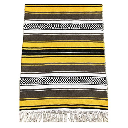 sunshines Mexican Yoga Blanket - 51 x 70 Inches - Mexican Falsa Blanket - Ideal for Yoga, Camping, Picnic, Beach Blanket, Bedding, Home Decor Soft Woven (Yellow)