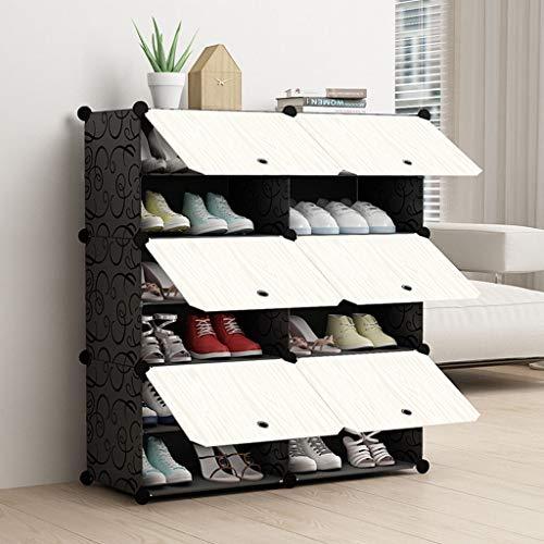 XBDD Rack de Zapatos Moderno 6- Cube Enclavamiento Zapatero Cubo estantes de Almacenamiento Armario ropero pie Organizador Guardar la Ropa Cabinet 85 x 31 x 96 cm
