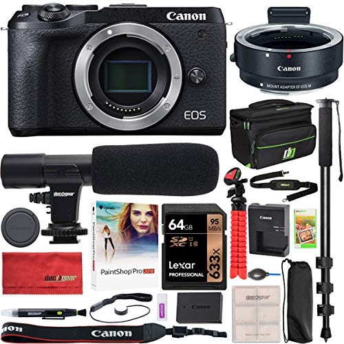 Canon EOS M6 Mark II 2 Mirrorless Digital Camera Body Only with Lens Adapter EF-EOS M Black 3611C011 Bundle with Deco Gear Bag Case + Microphone + Monopod + 64GB Memory Card + Software & Accessories