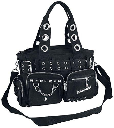 Handtas met studs en oogjes zwart, Black/Black,