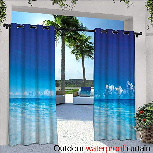 cobeDecor Landscape Exterior/Outside Curtains Ocean Scenery Deep Sea Beach Hot Summer Themed Photo for Patio Light Block Heat Out Water Proof Drape W108 x L84 Turquoise Pale Blue and Dark Blue