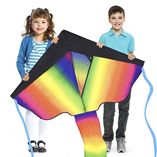 Cometa enorme delta del arco iris para los niños - muy fácil de volar - y rápido de montar - patio trasero, parque de juegos al aire libre y juguetes voladores