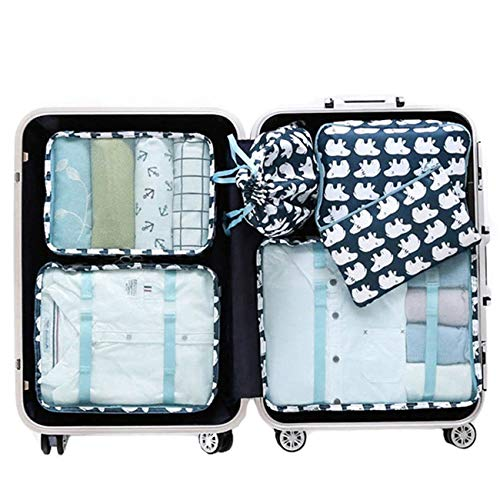 Suitcase Organizer,Mossio 7 Set Luggage Packing Cubes Toiletry Travel Kit Polar Bear