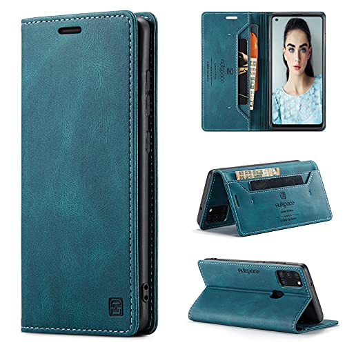 CaseNN Cover per Samsung Galaxy A21S Custodia Pelle Premium con Porta Carte Fe Portafoglio Magnetica Flip Wallet Case per Donne Uomini Libro Silicone con RFID Blocking - Blu-Verde