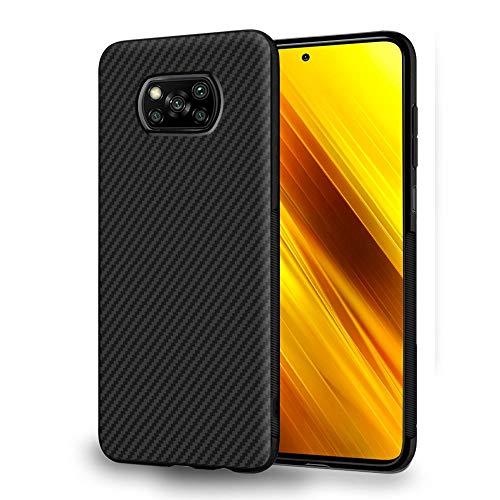 ebestStar - kompatibel mit Xiaomi Poco X3 NFC Hülle Kohlenstoff Design Schutzhülle, TPU Handyhülle Flex Silikon Hülle, Schwarz [Phone: 165.3 x 76.8 x 9.4 mm, 6.7'']