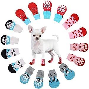 N\O Heiqlay Calcetines para Perros, Calcetines para Mascotas Protectores de Patas para Perros Calcetines Antideslizantes Control de tracción protección para Las Patas para Perros Gatos, 4 Juegos, S