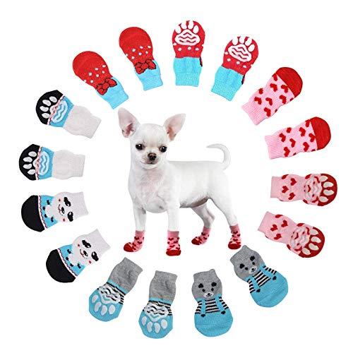 NO Hundesocken Anti Rutsch Socken für Katzen Pfotenschutz Hund Katze Pet Indoor Anti-Rutsch Socken Pfotenschutz und Traktion Dank Silikon-Gel für Hunde und Katzen, 4 Sätze, M