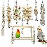 SIFDNRGNFN Juguetes Accesorios 7 PCS Juguetes de pájaro Loro Juguete Natural Juguetes de Jaula de Madera con Color Original para Agapornis (Color : D)