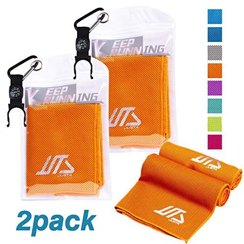 JUSTA Kühlendes Fitness Handtuch 2 Pack, Sofort Kaltes Kühlende Handtücher 30x100cm mit Mehrzweck für Reise Draussen Camping Yoga Golf Handtuch