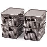 EZOWare Grigio Multiuso Cesto portaoggetti Impilabile con coperchi in plastica per Bagno e Cucina - Set di 4 / Piccolo