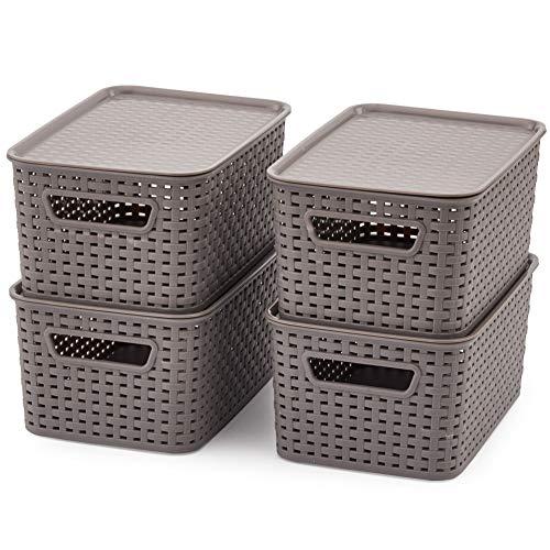EZOWare 4 pcs Cestas de Almacenaje Multiuso con Tapas, Cajas Organizadoras de Plástico Apilable con Efecto de Mimbre y Asas para Cocina, Baño - Gris