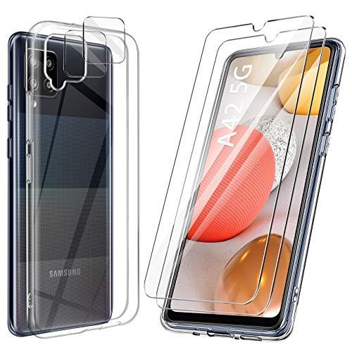 ivencase Handyhülle Kompatibel mit Samsung Galaxy A42 5G Hülle mit 2 Stück Panzerglas Schutzfolie & 2 Stück Kamera Panzerglas Schutzfolie