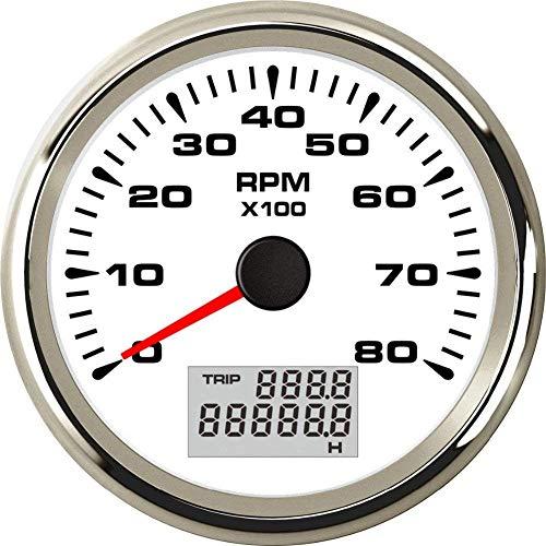 ELING Tachymètre Universel Jauge De Tachymètre 8000 RPM Pour Auto Marine Yacht Vehicle avec 8 Couleurs Rétro-Éclairage 85mm 9-32V