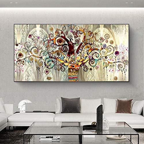 YCCYI Wandkunst Leinwand Poster und Drucke Lebensbaum von Gustav Klimt Landschaft Moderne Wandkunst Bild für Wohnzimmer 60x100cm (24x39in) Ungerahmt