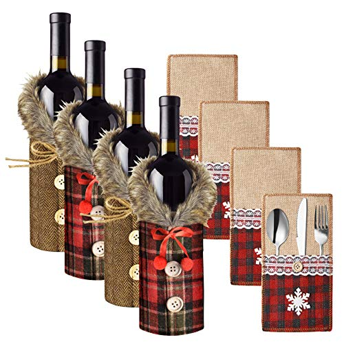 EBANKU 8 PCS Christmas Wine Bottle Covers and Utensil Pouch Set,Christmas Sweater Wine Bottle Cover Decorative for Xmas Dinner Party,Holders Knifes Forks Spoon Bag