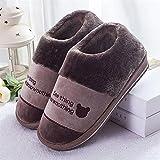Kirin-1 Pantuflas Invierno Mujer,Bolso de Hombre de Zapatos Peludos con Zapatillas de algodón hogar de Gran tamaño antideslizante-44-45_Café un