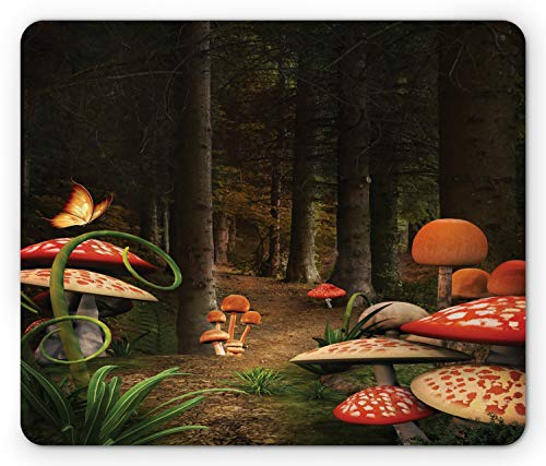 Ambesonne Mushroom Mouse Pad, Mushrooms in Deep Dark Forest Fantasy Nature Theme Earth Path Mystical Image, Rectangle Non-Slip Rubber Mousepad, Standard Size, Pomegranate Green