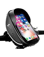 "Bike Handlebar Bag Waterproof Bike Phone Mount Holder bag Bicycle Front Frame Top Tube Handlebar Bags Bike Mountain & Road Cycling Accessories Pouch Large Storage Fits iPhone 12 11 pro Xs Max 8 Plus Below 6.5"" Sensitive Touch Screen"