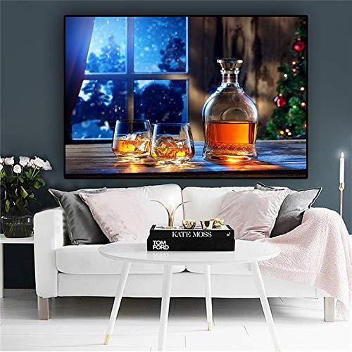 Sanzangtang Plaat koud bier bier whisky canvas poster en prints kamerdecoratie muurkunst levensmiddelen afbeelding keuken frameloos schilderwerk