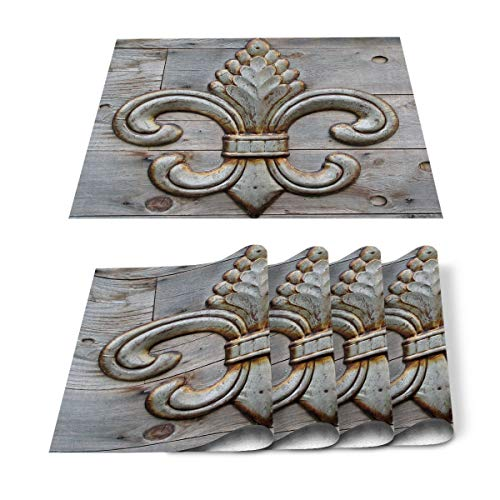 Prime Leader Placemats Set of 6 Basque Country and Quebec Pattern Washable Woven Placemats Heat-Resistant Table Mats for Dining Table/Kitchen Table