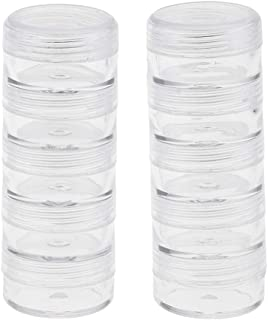 Prettyia 2 Set Round Small Plastic Cosmetic Storage Containers Jewelry Display Clear Makeup Stackable Small Screw Top Jar ...