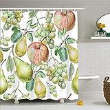 N / A Vorhang für Bad Home Badezimmer Display Obst Gemüse Duschvorhang-B180xH180cm