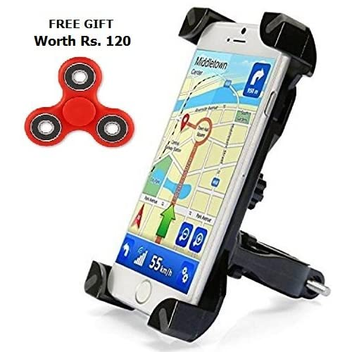 Alexvyan Adjustable Universal 360 Degree Rotation Mount Holder Bracket for Bike/Motorcycle/Cycle for Any Size Smartphones (Black)