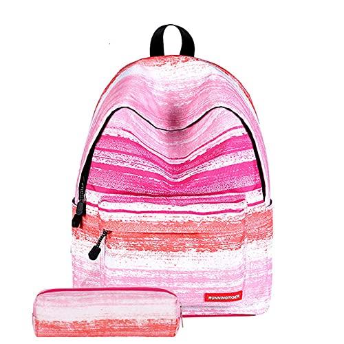 MU-PPX Mochila Mochilas Escolares Niños Mochila Mujer Mochila 2 Unids/Set Mochilas Escolares De Impresión para Adolescentes Mochilas De Viaje Bolsa De Viaje Mochila para Portátil-Stripe_Pink