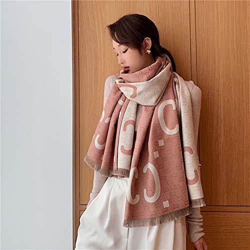 JPZCDK 1pc Winter Lady Schal Schal Frauen Dicke warme Decke wickelt weibliche Kaschmirschals Pashmina Schals Kleidung, WY2-rosa Beige, 200x65cm