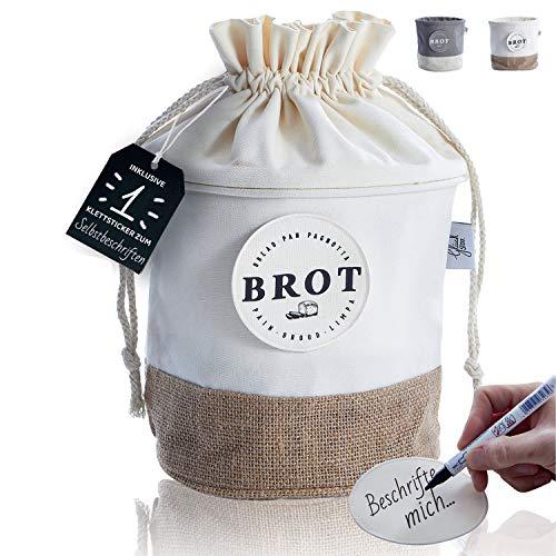 Glückstoff® Aufbewahrungsbox aus Stoff [Nachhaltig] Brot-Korb | Brotbeutel Küchen-Deko Bad Vorratsbehälter | Vintage Retro Leinen-Beutel | Lagerung Lebensmittel Gemüse Obst Tee Kaffee (Hell)