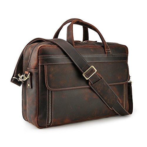 Lannsyne Vintage Genuine Leather Briefcases For Men 17 inch Laptop Bag Messenger Cross Body Shoulder Computer Satchel