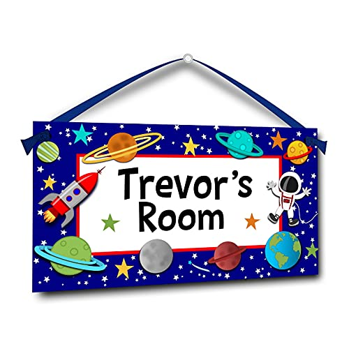 Astronaut in Outer Space, Personalized Kids Door Sign