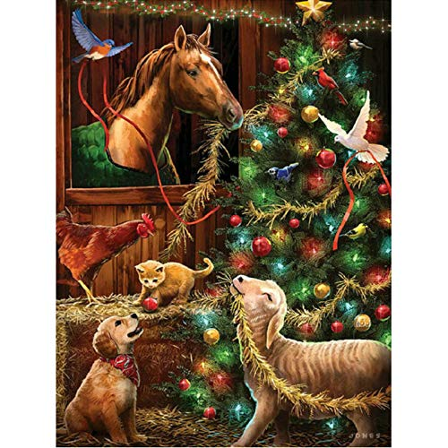 Puzzles 1000 Pieces for Adults Kids,Christmas Tree Horse Puzzles -Large Family Game Kids Adults Intellective Educational Toy Gift