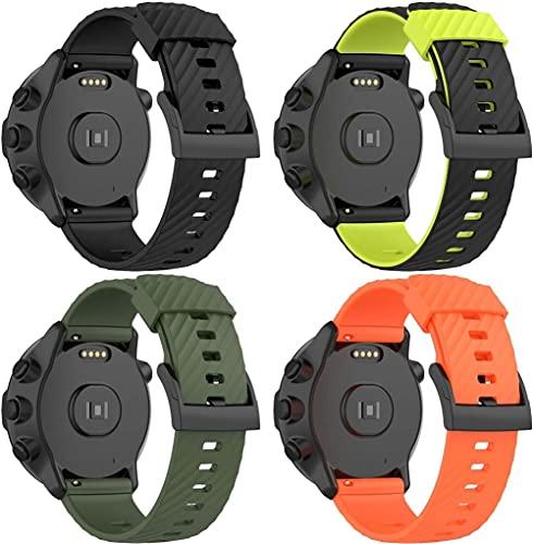 Gransho Pulseira de Relógio compatível com Suunto 9/9 Baro / 7 / Spartan Sport Wrist HR, Bandas de Reposição Esportiva de Silicone Macio (4-Pack G)