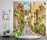 LB Blumen Straße Duschvorhang Antischimmel Wasserdicht Badezimmer Vorhänge Italien Stadt Pflanzen Landschaft 240x175cm Extra Breit Polyester Bad Vorhang mit Haken